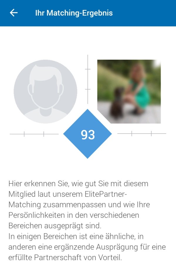 matching ergebnis elitepartner app